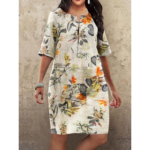 robe grande taille femme longueur genou fuchsia orange demi manches imprimé floral automne été col rond chaud vintage 2021 s m l xl xxl 3xl 4xl
