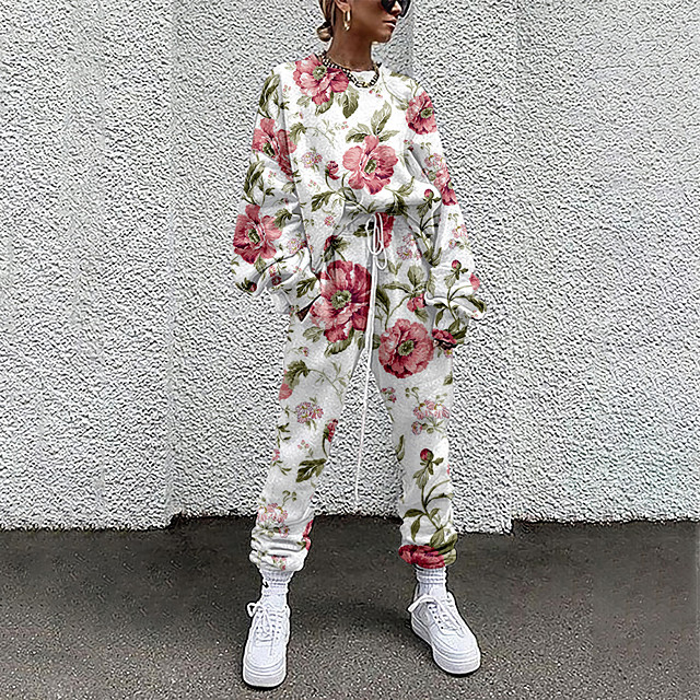 Dames Basic Street chic Bloemen Vakantie Casual / Dagelijks Tweedelige set Strakke ronde hals Trainingspak T-shirt Pantalon Loungewear Trekkoord Opdruk Tops / Ruimvallend