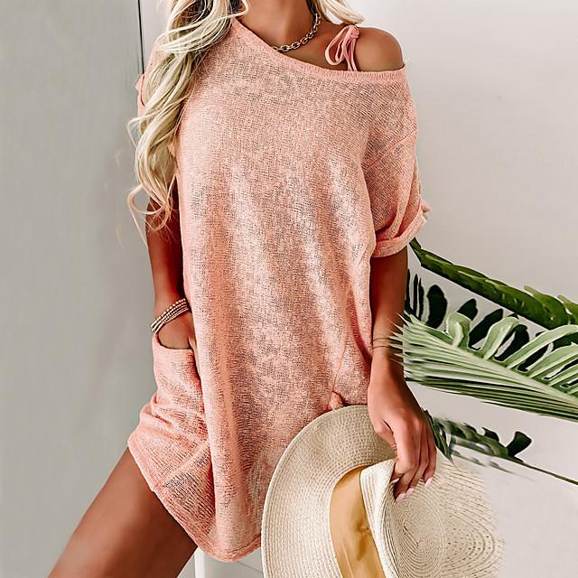 Dames Trui-jurk Mini-jurk Blozend Roze Korte mouw Effen Kleur Zak Zomer Ronde hals Informeel Feestdagen Ruimvallend 2021 S M L XL