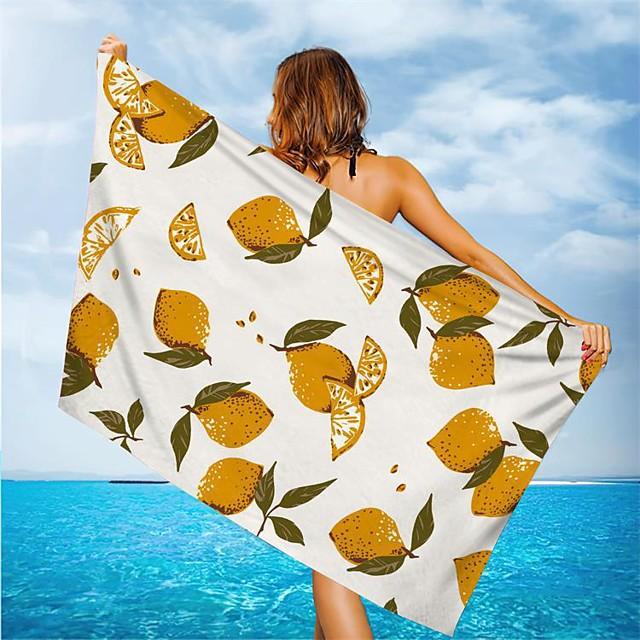 serviette de plage polyvalente, écharpe en soie à motifs de fleurs / feuilles rectangulaires en fibre superfine, serviette sans sable, pour les voyages, le camping, la piscine, l'extérieur ou le pique-nique