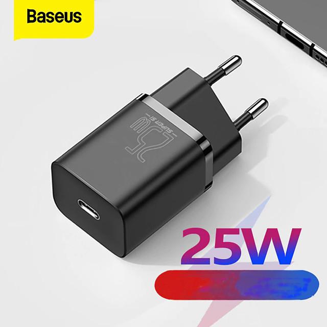 BASEUS 25 W Potenza di uscita USB C Caricatore PD Caricatore veloce Caricatore del telefono Caricatore GaN Caricatore per laptop Caricabatterie portatile Portatile con cavo Ricarica veloce Per iPad