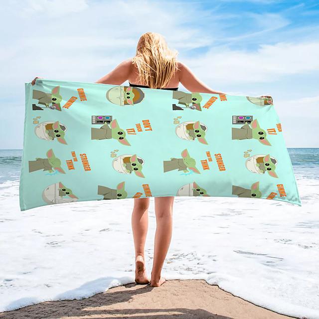 Serviette de plage polyvalente, écharpe en soie à motif de dessin animé coloré rectangulaire en fibre superfine, serviette sans sable, pour les voyages, le camping, la piscine, l'extérieur ou le pique-nique