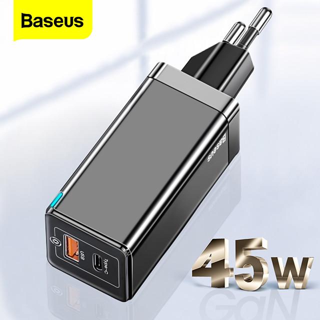 BASEUS 45 W Potenza di uscita USB USB C Caricatore PD Caricatore veloce Caricatore del telefono Caricatore GaN Caricatore per laptop Caricabatterie portatile Multiuscita Ricarica veloce Per iPad