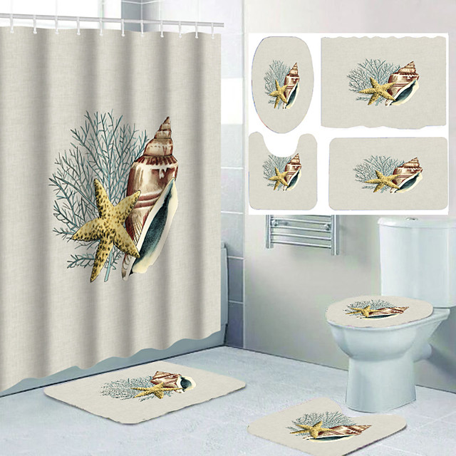 školjke i morske zvijezde digitalni tisak četverodijelna kuka za zavjese za tuš moderna poliester vodootporna kupaonica 72 inča