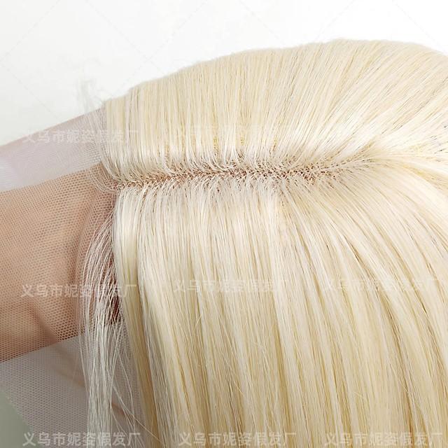 amazon nytt produkt europeiske og amerikanske kvinners parykk lys gull front blonder kjemisk fiber lang rett hår parykk produsenter spot engros