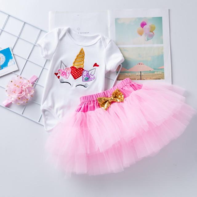 아가 여아 베이직 문자 리본 프린트 짧은 소매 드레스 루비 블러슁 핑크