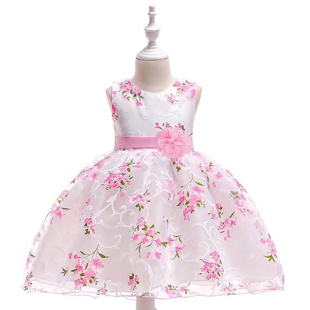 Vestito per bambina fantasia floreale senza maniche bianco adatto 5-6 anni