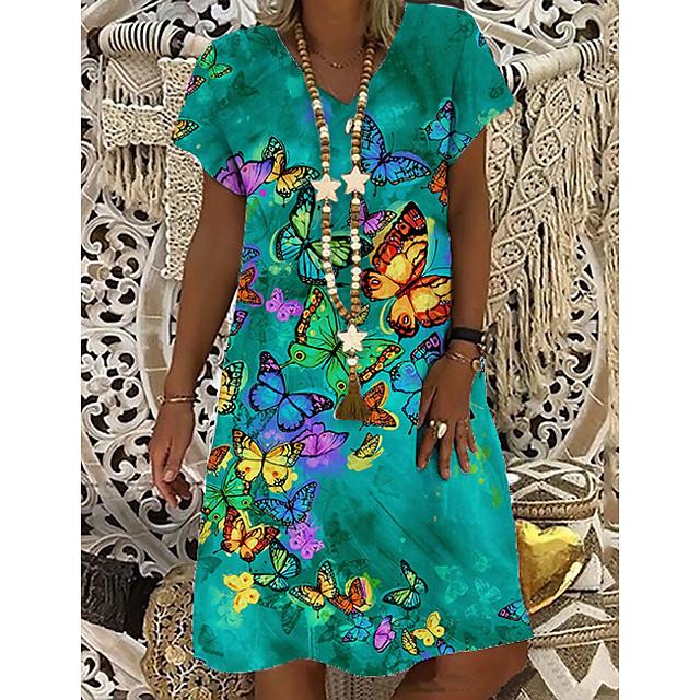 Women's T Shirt Dress Tee Dress Knee Length Dress Blue Short Sleeve Print Butterfly Animal Print Spring Summer V Neck Casual Holiday 2021 S M L XL XXL 3XL