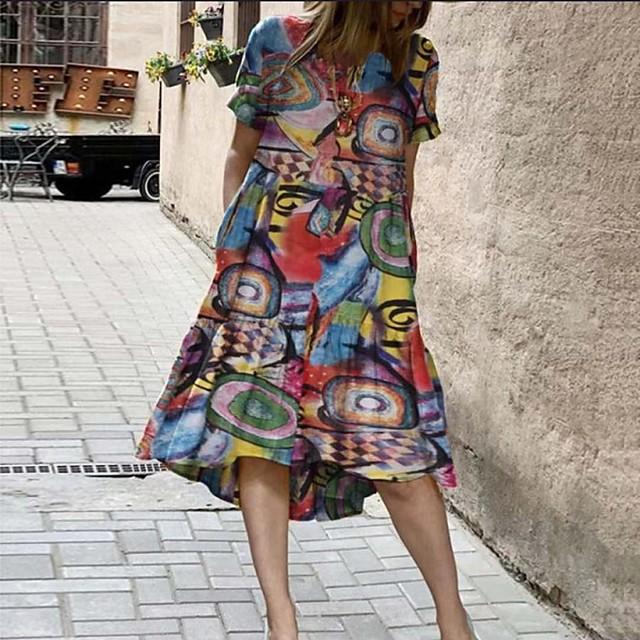 Women's A Line Dress Midi Dress Yellow Red Short Sleeve Print Pocket Patchwork Plus High Low Spring Summer Round Neck Casual 2021 S M L XL XXL 3XL 4XL 5XL / Cotton / Cotton
