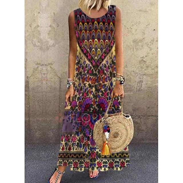 여성용 시프트 드레스 맥시 드레스 민소매 무늬 봄 여름 캐쥬얼 / 데일리 2021 S M L XL XXL XXXL 4XL 5XL