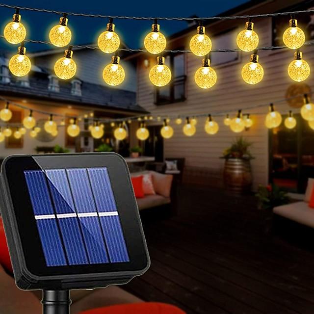 guirlandes solaires décoration de mariage 10m lumières de patio solaires 50 leds avec 8 modes lumières de chaîne de boule de cristal imperméables pour patio pelouse décorations de jardin de jardin de