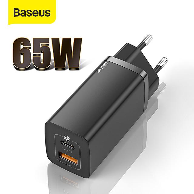 BASEUS 65 W Potenza di uscita USB USB C Caricatore PD Caricatore veloce Caricatore del telefono Caricatore GaN Caricatore per laptop Caricabatterie portatile Multiuscita Ricarica veloce Per iPad