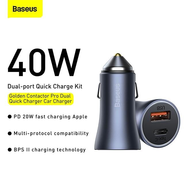 BASEUS 40 W Potenza di uscita USB USB C Caricatore PD Presa per caricabatteria USB per auto Caricatore veloce Caricatore del telefono Multiuscita Ricarica veloce Per Universale