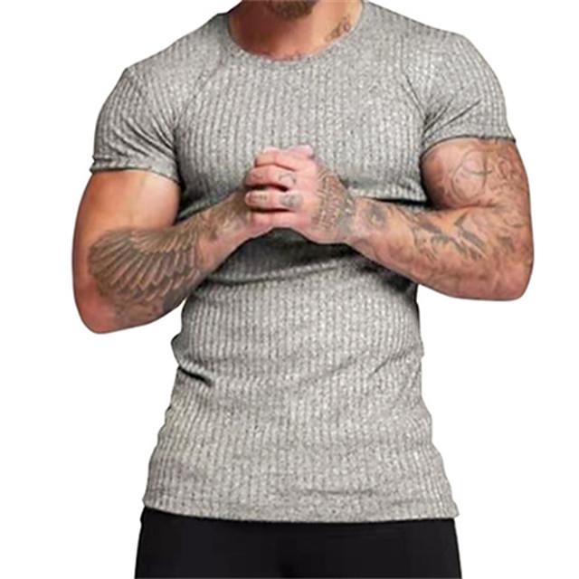 Homme T-shirt Rayé Manches Courtes Décontracté Hauts Simple Noir Gris