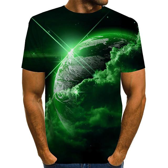 Voor heren Uniseks T-shirts T-shirt 3D-afdrukken Afdrukken Grafisch Interstellair Grote maten Korte mouw Causaal Tops Wijnoogst Noviteit Ronde hals blauw Paars Rood