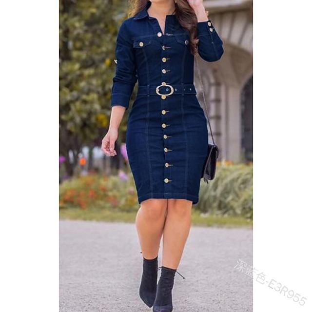نسائي فستان شيث فستان طول الركبة أزرق فاتح أزرق أسود أزرق البحرية كم طويل لون الصلبة الربيع الصيف كاجوال / يومي 2021 S M L XL 2XL 3XL