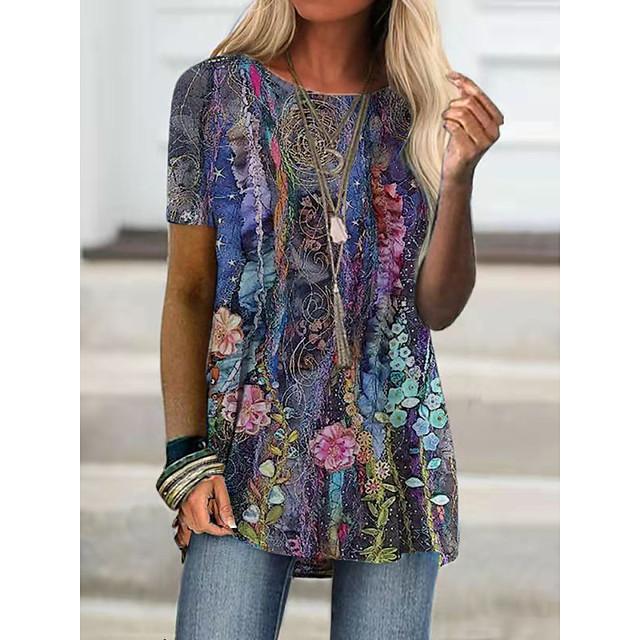 Per donna Per eventi Floreale maglietta Fantasia floreale Pop art Con stampe Rotonda Essenziale Top Viola Giallo Viola chiaro