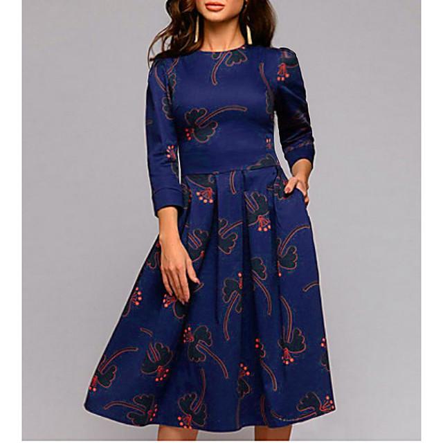 Women's Swing Dress Knee Length Dress Navy Blue 3/4 Length Sleeve Geometric Spring Summer Round Neck Boho Slim S M L XL XXL