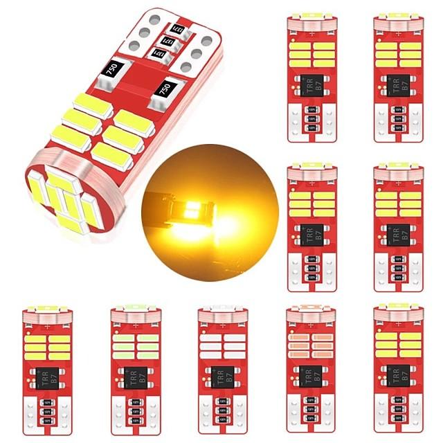 10 pièces t10 intérieur de voiture canbus led w5w 194 168 18led 4014smd ampoule sans erreur de lecture lampe de plaque d'instrument de lumière