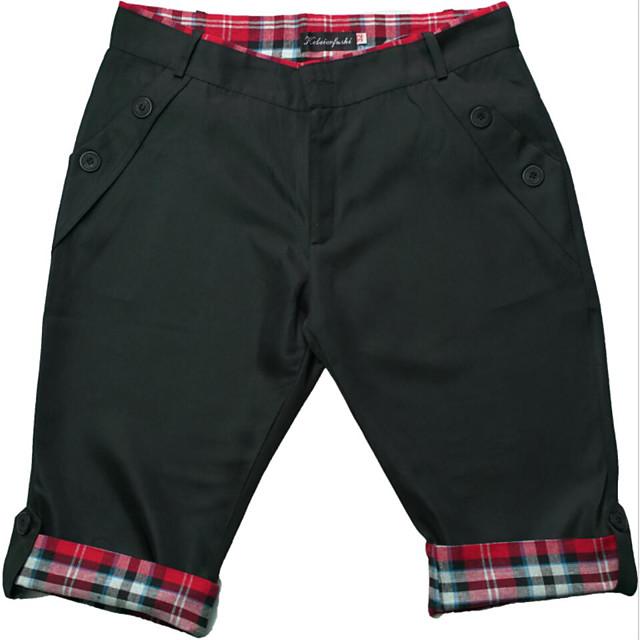 Homens Básico Calção Bermudas Calças Sólido Comprimento do joelho Preto Cáqui Cinzento Escuro Cinzento