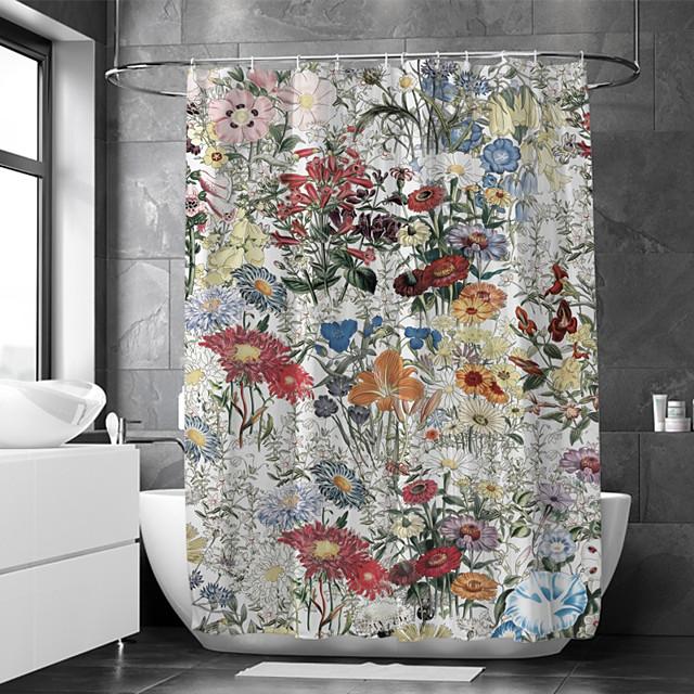 višebojna zavjesa za tuš vodonepropusna tkanina za kupaonice uređena kućnim dekorom prekrivena zavjesama za kadu postava uključuje kuke od poliestera