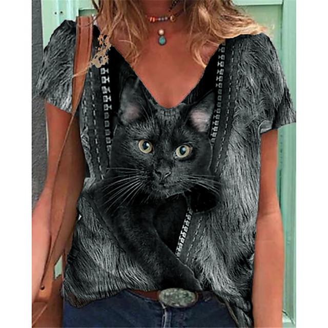 Women's Cat T shirt Cat V Neck Tops Basic Basic Top Black