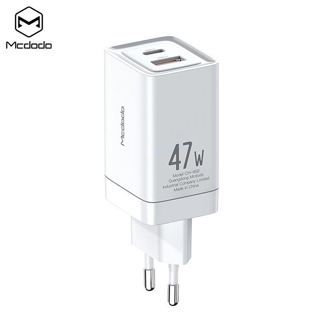 MCDODO 47 W Puissance de sortie USB USB C Chargeur PD Chargeur rapide Chargeur de téléphone Chargeur Secteur Chargeur de portable Chargeur Mural Portable QC 3.0 Charge Rapide RoHs CE PSE Pour Xiaomi