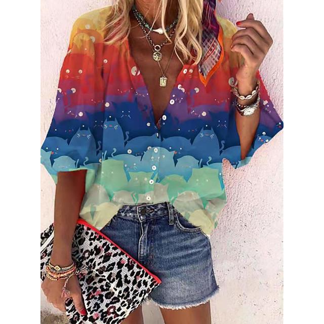 Per donna Blusa Camicia Monocolore Manica lunga Asimmetrico Con stampe A V Essenziale Casuale Top Viola