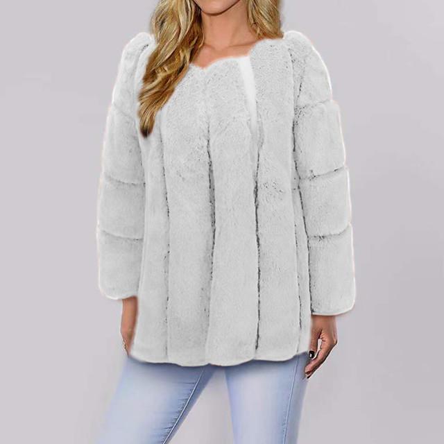 Women's Faux Fur Coat Daily Spring Fall & Winter Regular Coat V Neck Regular Fit Elegant & Luxurious Jacket Long Sleeve Solid Colored Fur Blushing Pink White