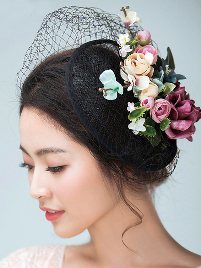 Flax / Satin Fascinators / Hats / Headwear with Floral 1pc Wedding / Special Occasion / Tea Party Headpiece