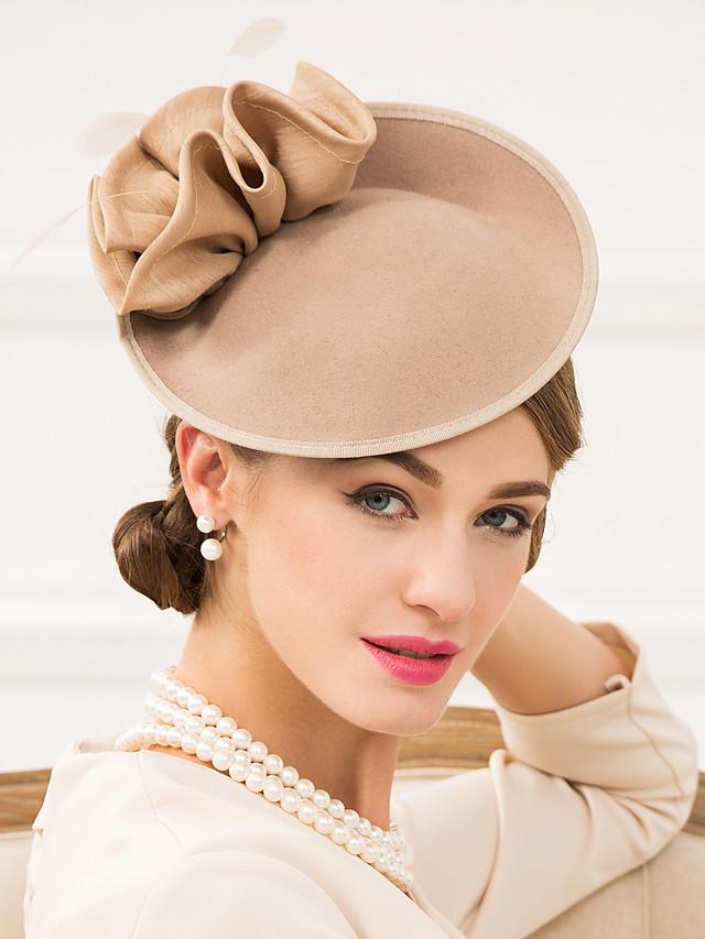 Femme Plume Polyester Laine Casque-Mariage Occasion spéciale Décontracté Coiffure Chapeau 1 Pièce