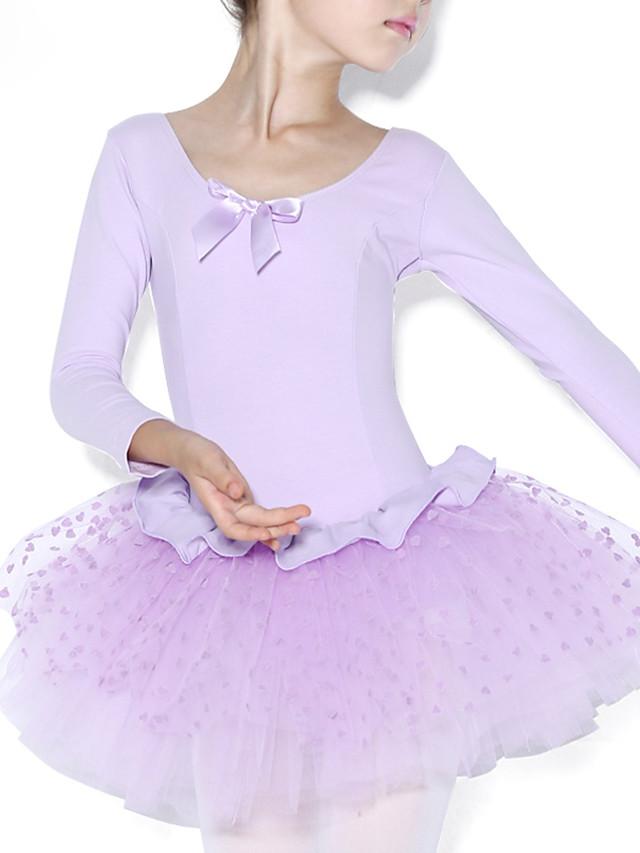 Ballet Collant / Combinaison Volants Fantaisie Entraînement Manches Longues Taille moyenne Coton