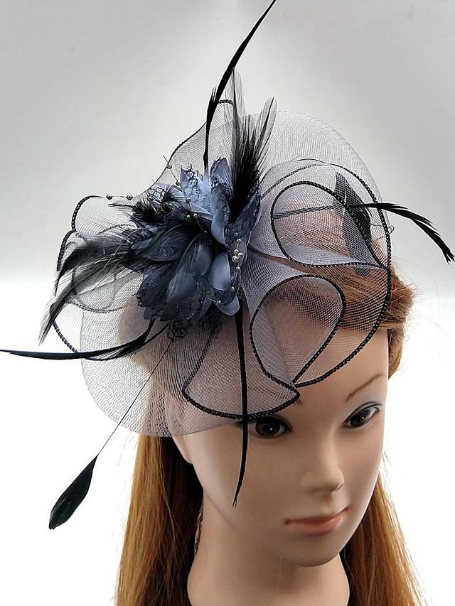 Tulle / Plume / Filet Fascinators / Chapeaux / Coiffure avec Fleur 1pc Mariage / Occasion spéciale / Course de chevaux Casque