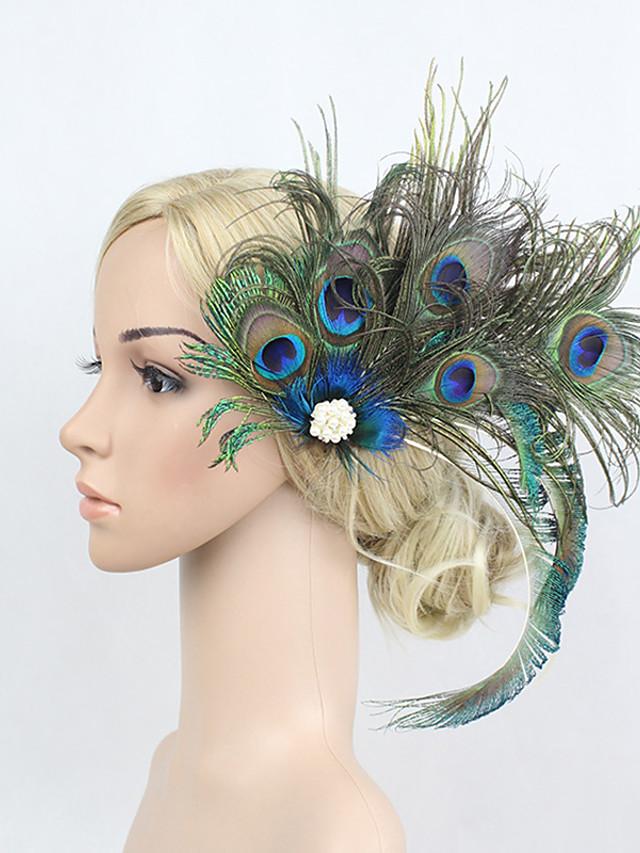 Rétro Vintage Années 1920 Gatsby Strass / Plume / Alliage Fleurs / Coiffure / Pince à cheveux avec Fleur 1pc Occasion spéciale Casque