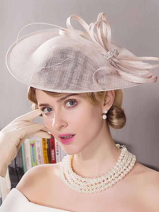 Lin / Strass / Plume Kentucky Derby Hat / Fascinators / Chapeaux avec Fleur 1pc Mariage / Occasion spéciale / Fête du thé Casque