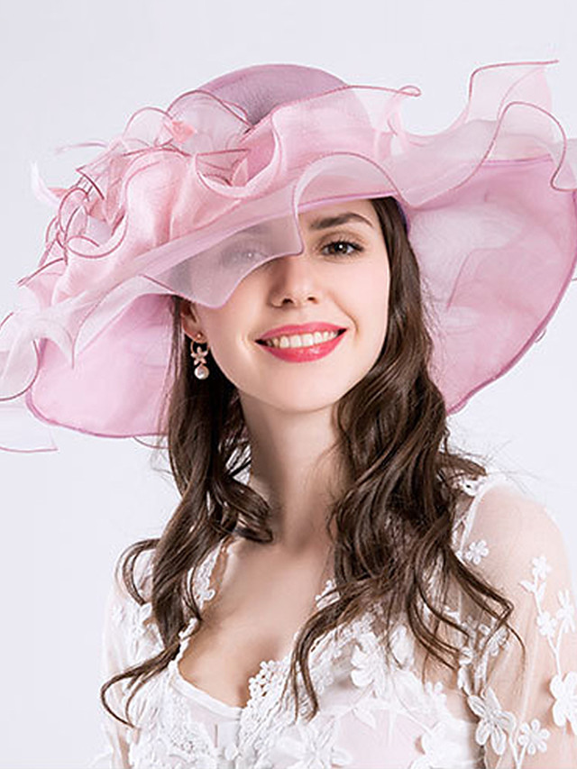 Feather / Silk / Organza Kentucky Derby Hat / Fascinators / Hats with Floral 1pc Wedding / Special Occasion / Party / Evening Headpiece