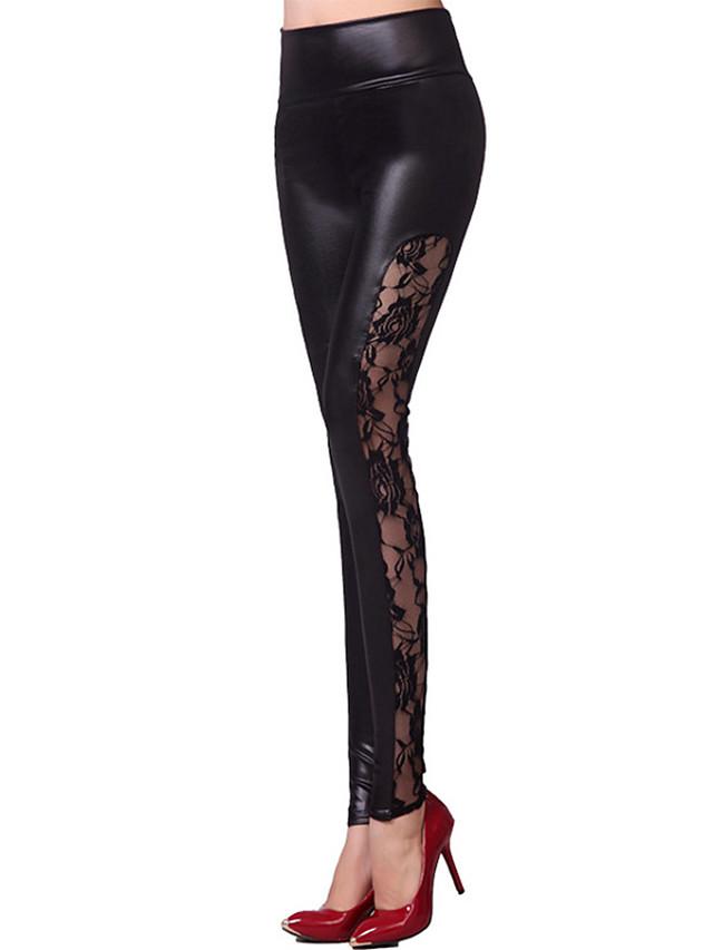 Danse latine Pantalon Dentelle Combinaison Femme Entraînement Utilisation Taille haute Polyuréthane Charmeuse