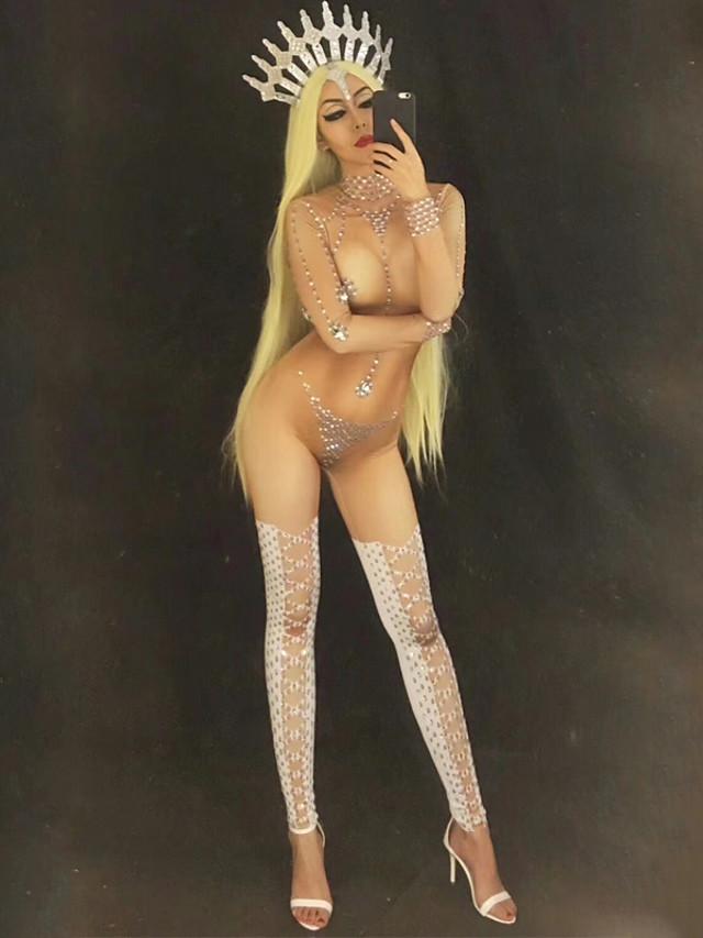 Vêtements de danse exotiques Collant / Combinaison Cristaux / Stras Femme Utilisation Manches Longues Taille moyenne Spandex