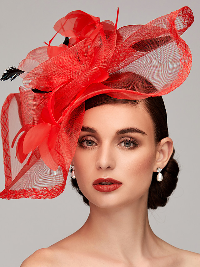 Veer / Net Kentucky Derby Hat / fascinators / Helm met Veer / Bloemen / Bloem 1pc Bruiloft / Speciale gelegenheden  / Teaparty Helm