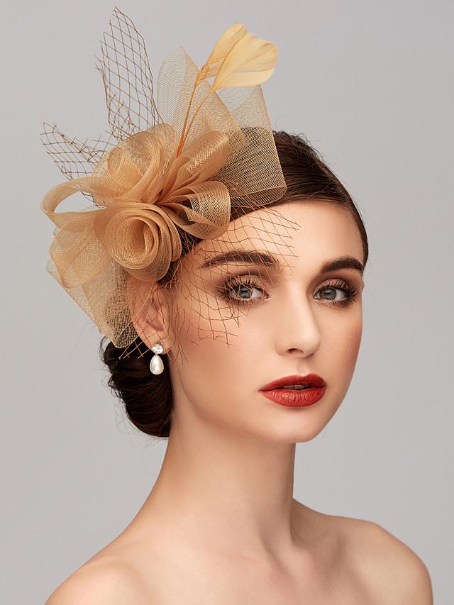 Plume / Filet Kentucky Derby Hat / Fascinators / Casque avec Plume / Fleur 1pc Mariage / Occasion spéciale / Fête du thé Casque