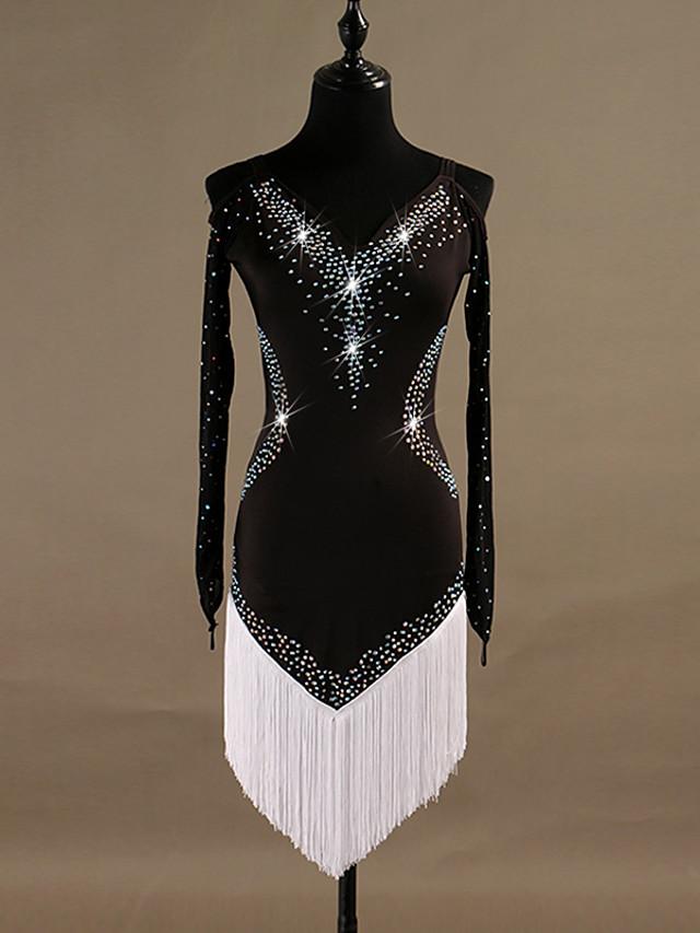 Danse latine Robe Cristaux / Stras Femme Entraînement Manches Longues Taille haute Spandex Tulle