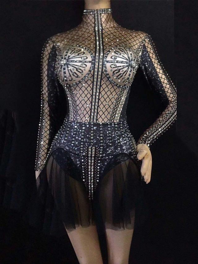 Vêtements de danse exotiques Robe Cristaux / Stras Femme Utilisation Manches Longues Spandex