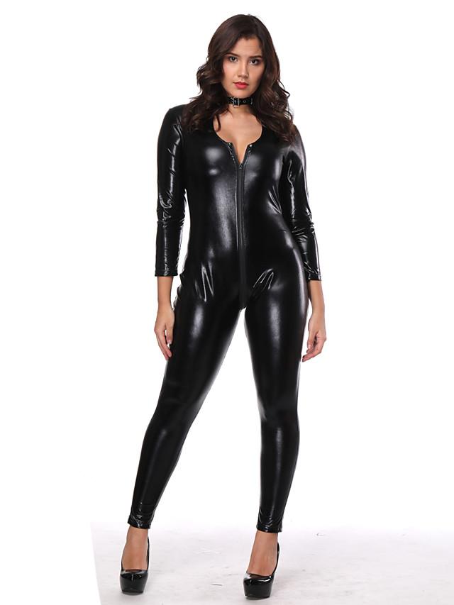 Vêtements de danse exotiques Collant / Combinaison Zip totalement visible Femme Entraînement Utilisation Manches Longues Elasthanne