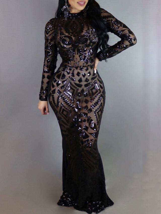 Vêtements de danse exotiques Robe Paillette Femme Entraînement Utilisation Manches Longues Taille haute Polyester