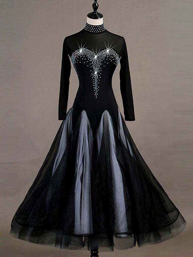 Danse de Salon Robe Cristaux / Stras Femme Entraînement Manches Longues Taille haute Nylon Organza Tulle