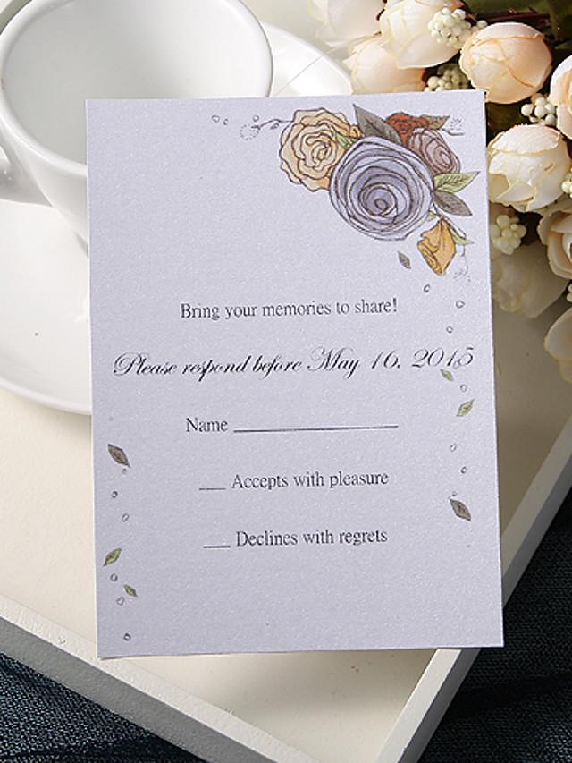 Carte plate Faire-part mariage 20 - Cartes de réponse Style floral Papier nacre