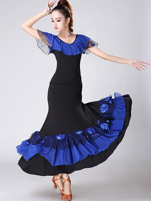 Danse de Salon Jupes Ruché Etagée Femme Entraînement Utilisation Manches Courtes Taille moyenne Spandex Polyester