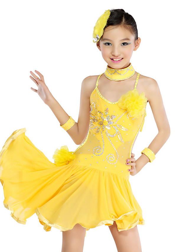 Danse latine Tenues de Danse pour Enfants Robe Volants en cascade Cristaux / Stras Paillette Fille Entraînement Utilisation Sans Manches Maille Polyester