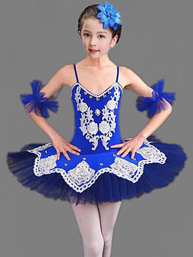 Tenues de Danse pour Enfants Ballet Robe Combinaison Cristaux / Stras Fille Entraînement Utilisation Sans Manches Maille Polyester