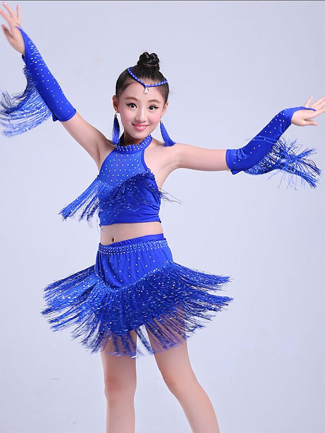 Danse latine Tenues de Danse pour Enfants Jupes Gland Etagée Cristaux / Stras Fille Entraînement Utilisation Sans Manches Nylon Élastique